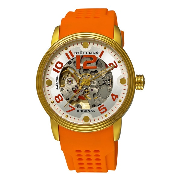 Stuhrling Original Men's Delphi Adonis Sports Automatic Orange Rubber Strap Watch