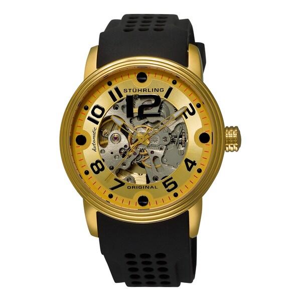 Stuhrling Original Men's Delphi Adonis Sports Automatic Black Rubber Strap Watch