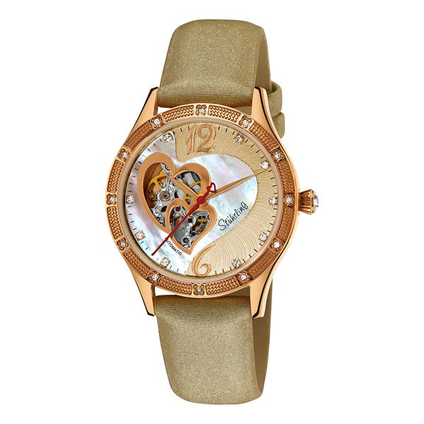 Stuhrling Original Women's Harmony Automatic Skeleton Crystal Mother of Pearl Brown Watch