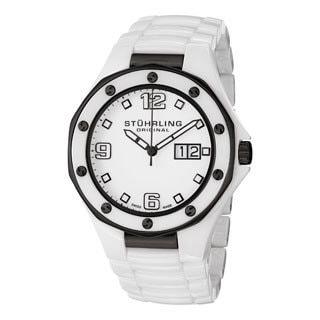 Stuhrling Original Men's Apocalypse Noir Swiss Made White Quartz Ceramic Watch