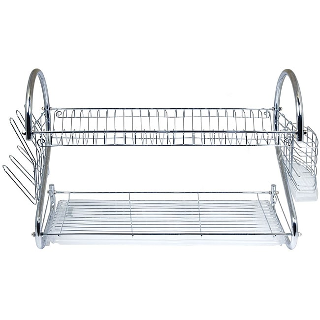 Better Chef 22-inch Chrome Dish Rack with Utensil Holder, Cup Rack and Tray - Thumbnail 0
