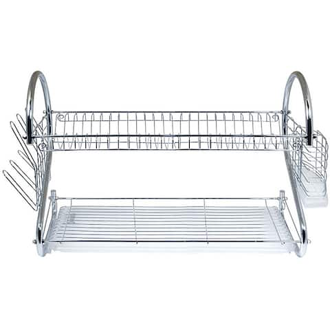 Better Chef Chrome 22-inch Dish Rack with Utensil Holder, Cup Rack, and Tray