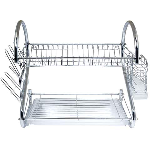 Better Chef 16-inch Chrome Dish Rack with Utensil Holder, Cup Rack and Tray