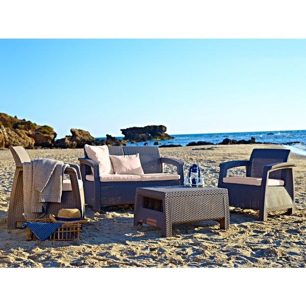 Mykonos Brown 4-piece Furniture Conversation Set