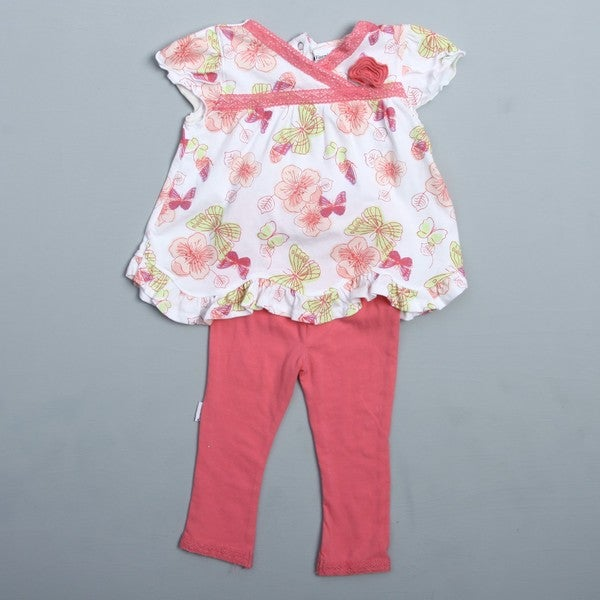 Vitamins Baby Infant Girl's Butterfly 2-piece Pant Set