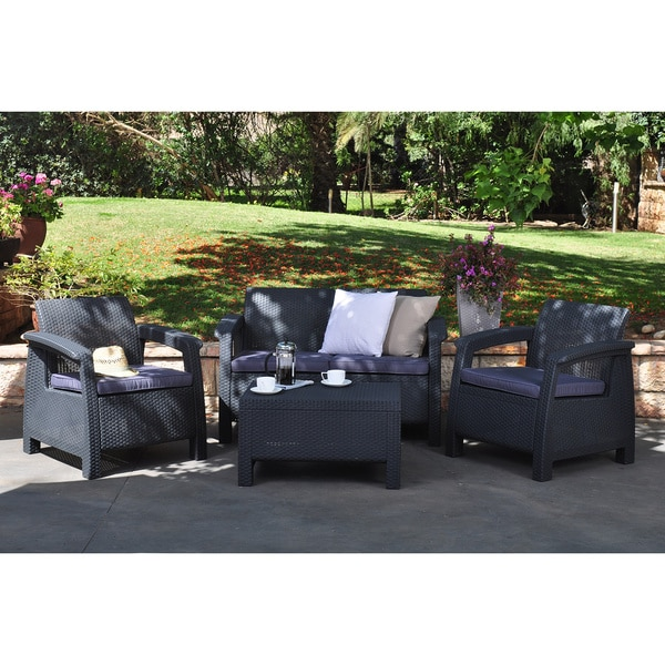 Corfu 4-piece All-weather Resin Outdoor Grey Patio Seating Furniture Set with Cushions
