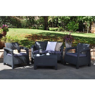 Keter Corfu 4-piece All-Weather Outdoor Grey Patio Set with Cushions