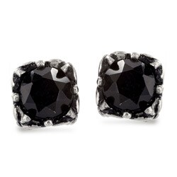 Stainless Steel Black Cubic Zirconia Tribal Square Stud Earrings