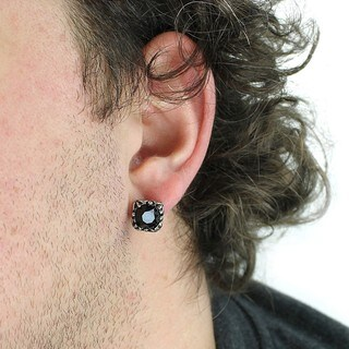 Stainless Steel Black Cubic Zirconia Tribal Square Stud Earrings