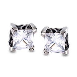 Stainless Steel Square Cubic Zirconia Stud Earrings - White
