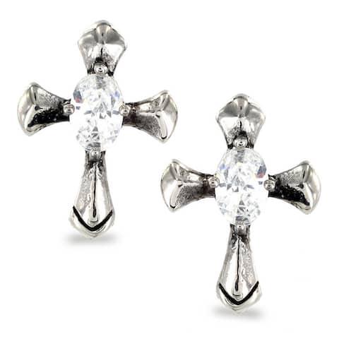 Stainless Steel Oval Cubic Zirconia Celtic Cross Earrings - White