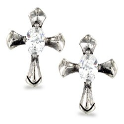 Stainless Steel Oval Cubic Zirconia Celtic Cross Earrings