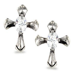 Stainless Steel Oval Cubic Zirconia Celtic Cross Earrings - White