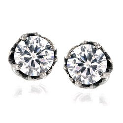 Stainless Steel Clear Cubic Zirconia Floral Setting Stud Earrings