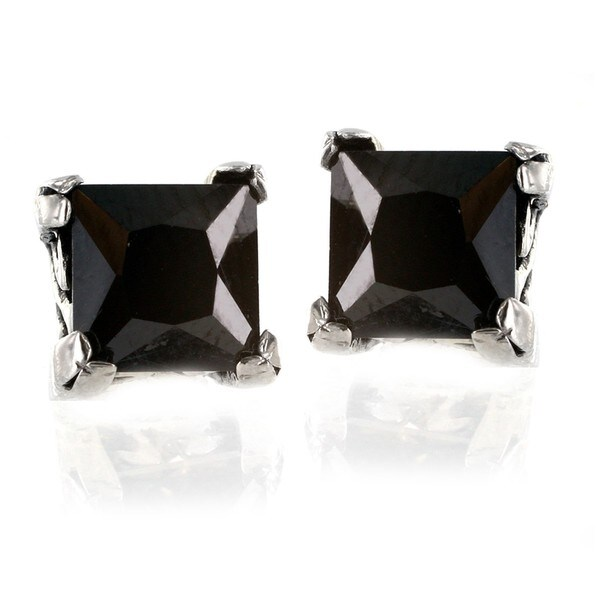 Stainless Steel Square Black Cubic Zirconia Stud Earrings White