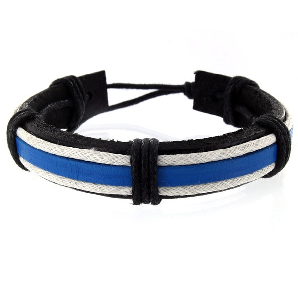 West Coast Jewelry Handmade Black, Blue and White Leather Cuff Wristband