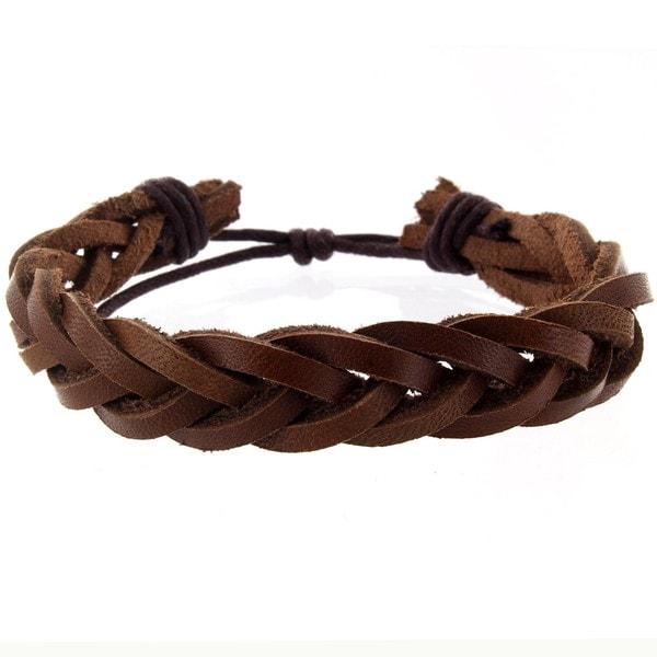West Coast Jewelry Handmade Braided Leather Cuff Wristband