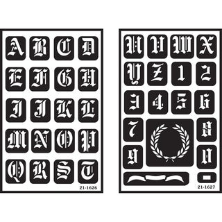 Over 'n' Over Reusable Glass Etching Stencils 2/Pkg-Old English Alphabet