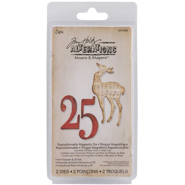 Sizzix Movers & Shapers Magnetic Dies By Tim Holtz-Mini Reindeer & 25