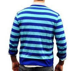 Something Strong Men's Blue Striped Cardigan