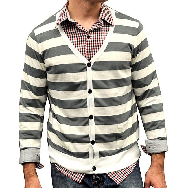 Something Strong Men's Egg/ Grey Striped Cardigan