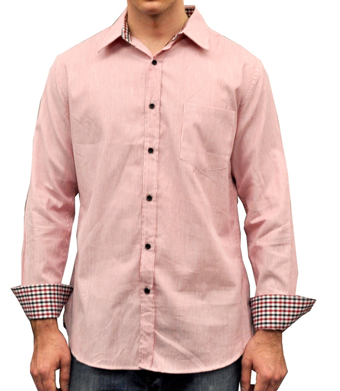 Something Strong Men's Red Striped Cotton Shirt