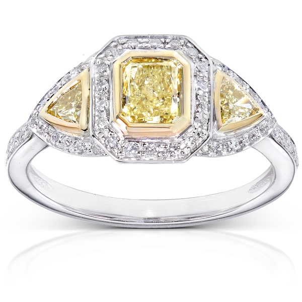 Annello by Kobelli 14k Gold 1ct TDW Certified Yellow and White Diamond Ring (H-I, SI2-I1)