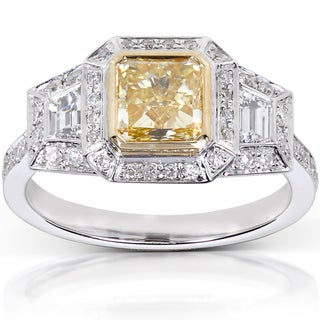 Annello by Kobelli 14k Gold 2 1/4ct TDW Certified Yellow Radiant Cut Diamond Ring (G-H, V