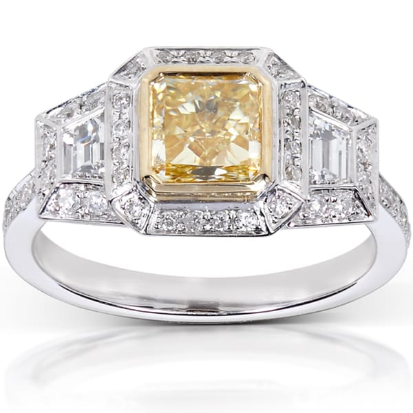 Annello by Kobelli 14k Gold 2 1/4ct TDW Certified Yellow Radiant Cut Diamond Ring (G-H, V