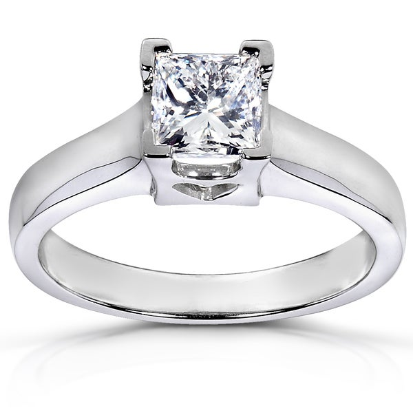 Annello 14k White Gold 1ct TDW Certified Diamond Engagement Ring (I, SI1)
