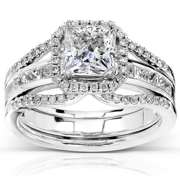 Annello by Kobelli 14k Gold 1 7/8ct TDW Ceritifed Princess Cut Diamond Bridal Ring Set (I