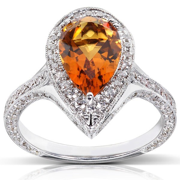 Annello by Kobelli 18k White Gold Citrine and 1ct TDW Diamond Ring (G-H, VS1-VS2)