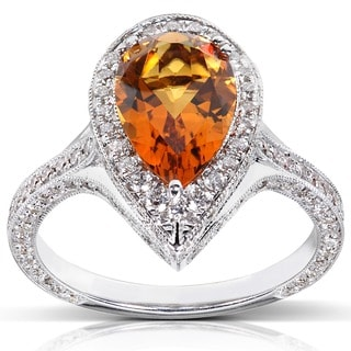 Annello by Kobelli 18k White Gold Citrine and 1ct TDW Diamond Ring (G-H, VS1-VS2)