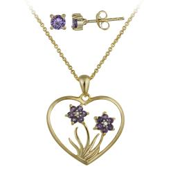 Glitzy Rocks Gold over Silver Amethyst and Diamond Accent Jewelry Set