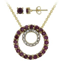 Glitzy Rocks Gold over Silver Ruby and Diamond Accent Jewelry Set