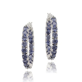 Icz Stonez Sterling Silver Purple Cubic Zirconia Inside-out Hoop Earrings (6 1/2ct TGW)