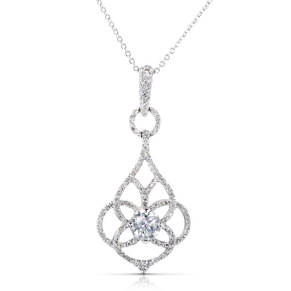 Annello by Kobelli 14k White Gold 1 1/4ct TDW Certified Round Diamond Floral Necklace (F-