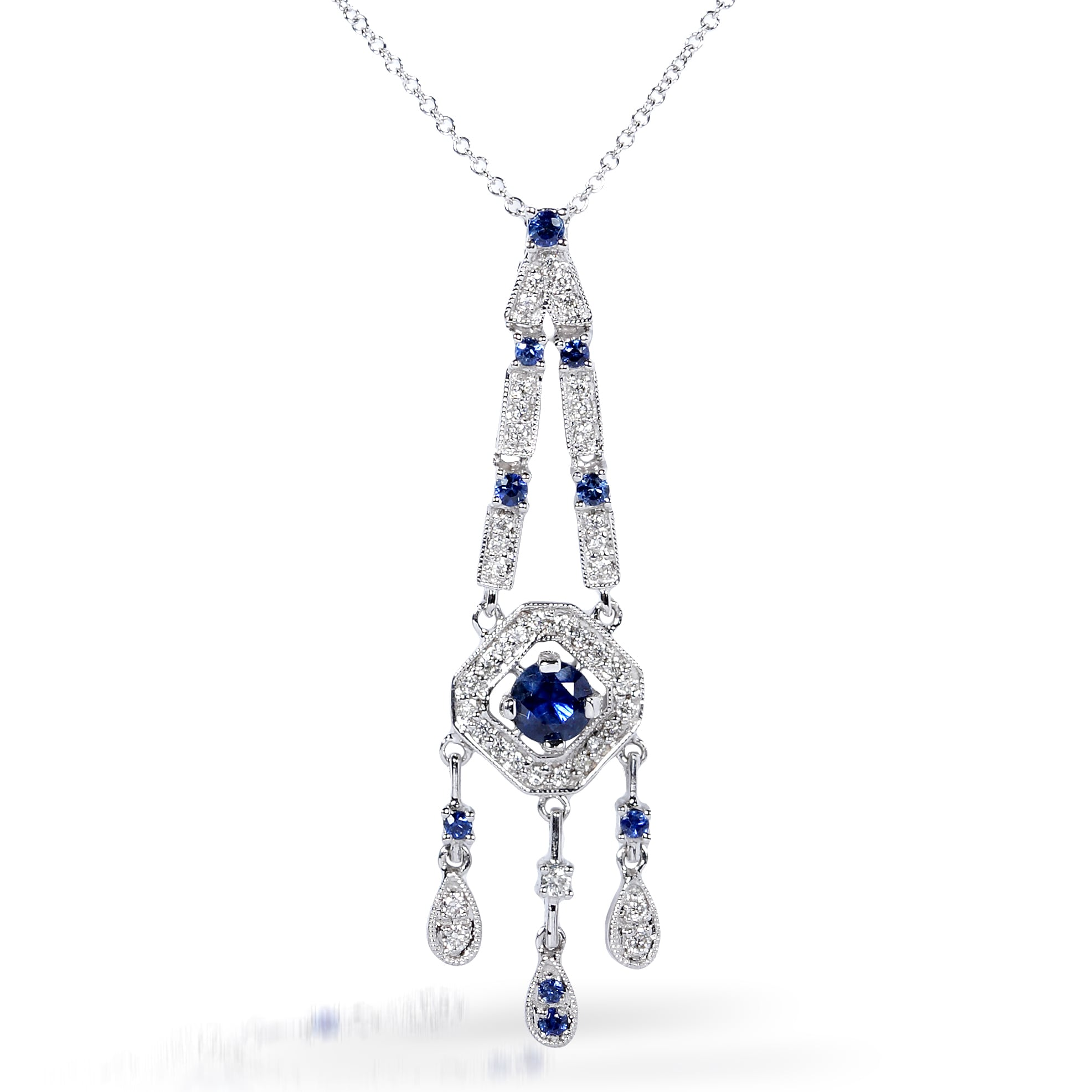 Annello by Kobelli 18k Gold Blue Sapphire and 1/4ct TDW Diamond Necklace (H-I, VS1-VS2)