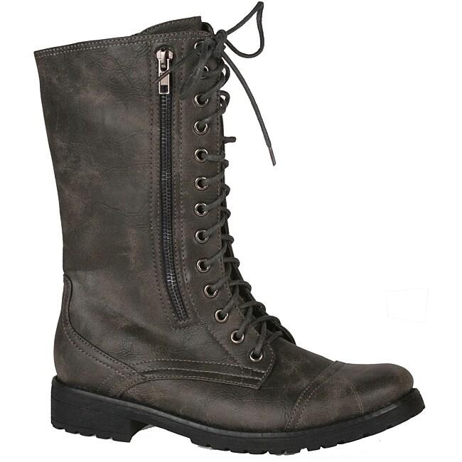 Neway by Beston Women's 'legend-08' Grey Combat Boots