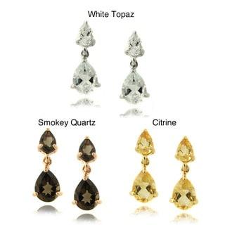 Dolce Giovonna Sterling Silver Gemstone Teardrop Earrings