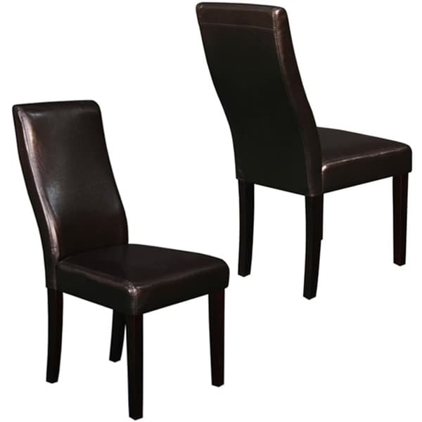 Livorna Faux Leather Brown Curved-back Dining Chairs (Set of 2)