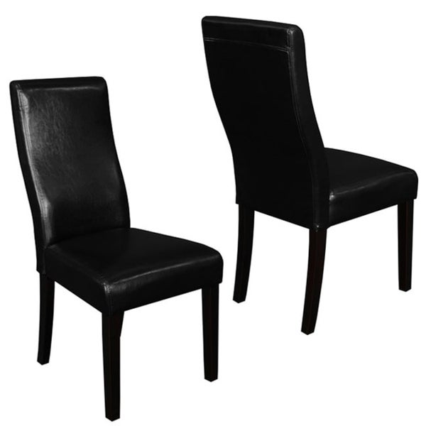 Black Leather Kitchen Chairs: Shop Livorna Faux Leather Black Curved-back Dining Chairs