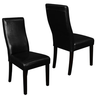 Livorna Faux Leather Black Curved-back Dining Chairs (Set of 2)