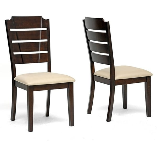 Victoria brown wood modern dining chairs set of free
