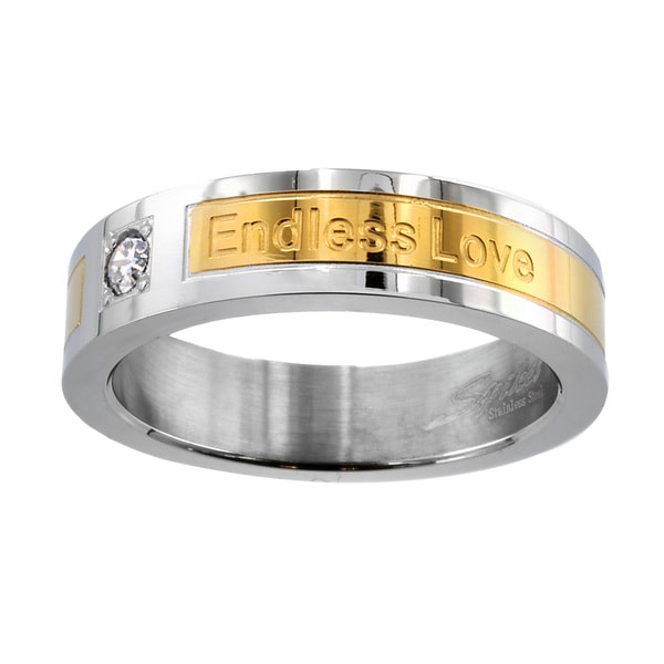Goldplated Stainless Steel Cubic Zirconia 'Endless Love' Engraved Ring
