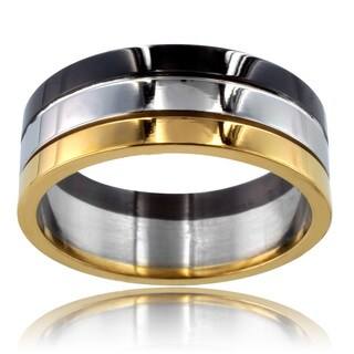 Tri-color Stainless Steel Grooved Ring (3 options available)