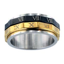 Men's Stainless Steel Roman Numeral Spinner Ring