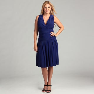 Jessica Howard Women's Blue Ruched Waist Plus Dress