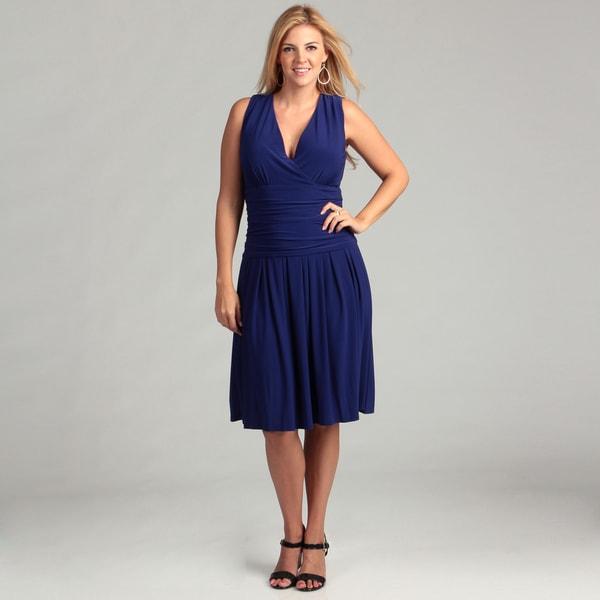 Jessica Howard Women's Blue Ruched Waist Plus Dress