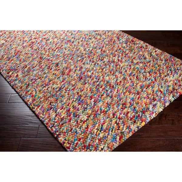 hand-woven multi colored burgundy angelfish wool plush shag rug (8